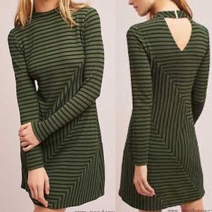 Anthropologie Hutch Moss Green Strip Dress